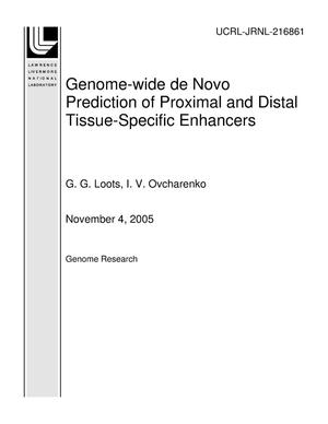 Primary view of object titled 'Genome-wide de Novo Prediction of Proximal and Distal Tissue-Specific Enhancers'.