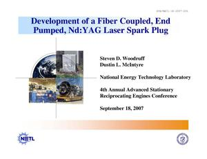 Primary view of object titled 'Development of a fiber coupled, end pumped, Nd:YAG laser spark plug'.