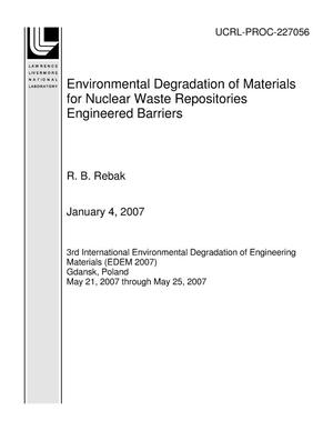 Primary view of object titled 'Environmental Degradation of Materials for Nuclear Waste Repositories Engineered Barriers'.