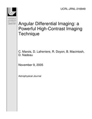 Primary view of object titled 'Angular Differential Imaging: a Powerful High-Contrast Imaging Technique'.