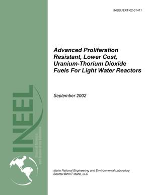 Primary view of object titled 'Advanced Proliferation Resistant, Lower Cost, Uranium-Thorium Dioxide Fuels for Light Water Reactors (Progress report for work through June 2002, 12th quarterly report)'.