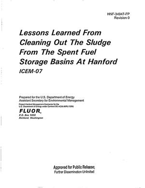Primary view of object titled 'LESSONS LEARNED FROM CLEANING OUT THE SLUDGE FROM THE SPENT FUEL STORAGE BASINS AT HANFORD ICEM-07'.