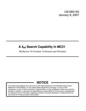 Primary view of object titled 'A keff Search Capability in MC21'.