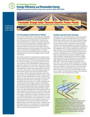 Primary view of object titled 'Parabolic Trough Solar Thermal Electric Power Plants (Fact Sheet)'.