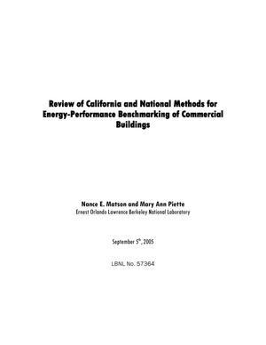 Primary view of object titled 'Review of California and National Methods for Energy PerformanceBenchmarking of Commercial Buildings'.