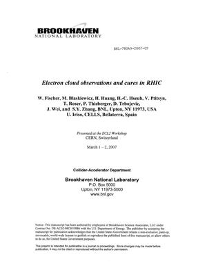 Primary view of object titled 'ELECTRON CLOUD OBSERVATIONS AND CURES IN RHIC.'.
