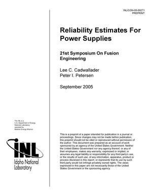 Primary view of object titled 'Reliability Estimates for Power Supplies'.