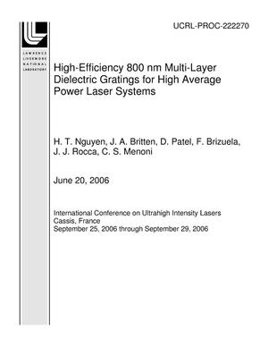 Primary view of object titled 'High-Efficiency 800 nm Multi-Layer Dielectric Gratings for High Average Power Laser Systems'.