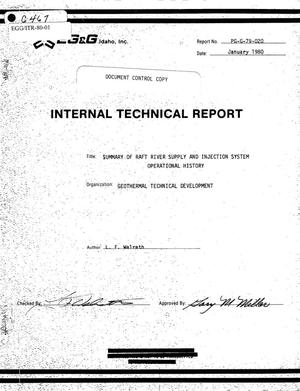 Primary view of object titled 'Internal Technical Report, Summary of Raft River Supply and Injection System Operational History'.