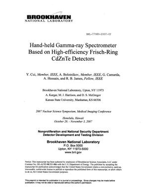 Primary view of object titled 'Hand-Held Gamma-Ray Spectrometer Based on High-Efficiency Frisch-Ring CdZnTe Detectors.'.