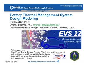 Primary view of object titled 'Battery Thermal Management System Design Modeling (Presentation)'.