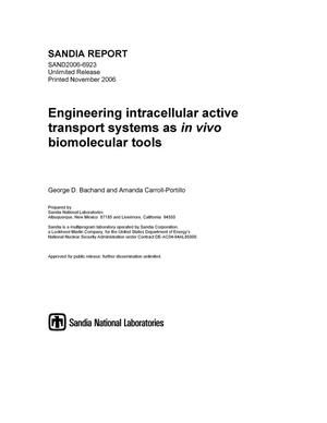 Primary view of object titled 'Engineering intracellular active transport systems as in vivo biomolecular tools.'.