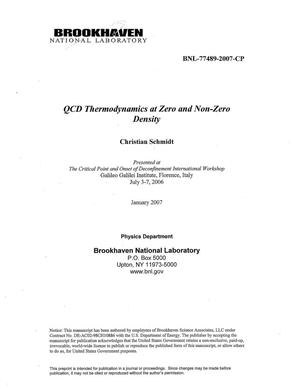 Primary view of object titled 'QCD THERMODYNAMICS AT ZERO AND NON-ZERO DENSITY.'.