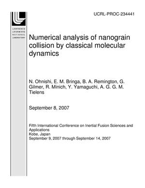 Primary view of object titled 'Numerical analysis of nanograin collision by classical molecular dynamics'.