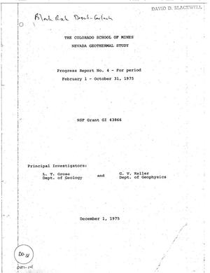 Primary view of object titled 'The Colorado School of Mines Nevada Geothermal Study Progress Report No. 4, February 1--October 31, 1975'.