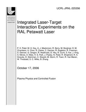Primary view of object titled 'Integrated Laser-Target Interaction Experiments on the RAL Petawatt Laser'.