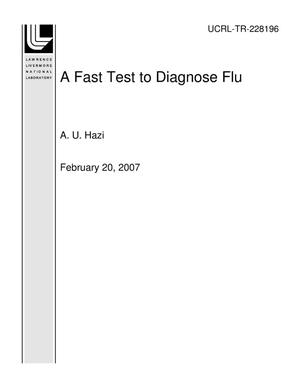 Primary view of object titled 'A Fast Test to Diagnose Flu'.