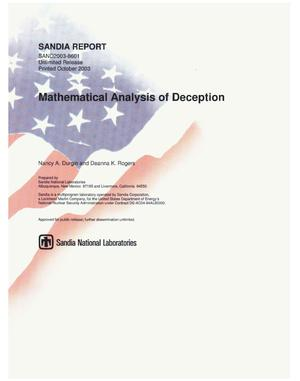 Primary view of object titled 'Mathematical analysis of deception.'.