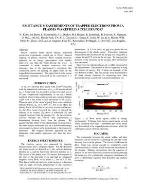 Primary view of object titled 'Emittance Measurements of Trapped Electrons from a Plasma Wakefield Accelerator'.