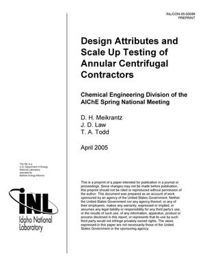 Primary view of object titled 'Design Attributes and Scale Up Testing of Annular Centrifugal Contactors'.