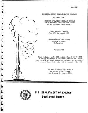 Primary view of object titled 'Geothermal energy development in Colorado. Appendix 7 of regional operations research program for development of geothermal energy in the Southwest United States. Final technical report, June 1977--August 1978'.