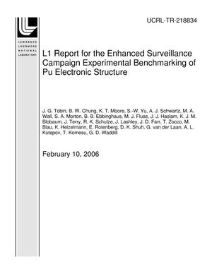 Primary view of object titled 'L1 Report for the Enhanced Surveillance Campaign Experimental Benchmarking of Pu Electronic Structure'.
