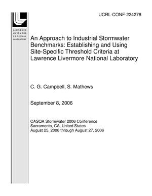Primary view of object titled 'An Approach to Industrial Stormwater Benchmarks: Establishing and Using Site-Specific Threshold Criteria at Lawrence Livermore National Laboratory'.