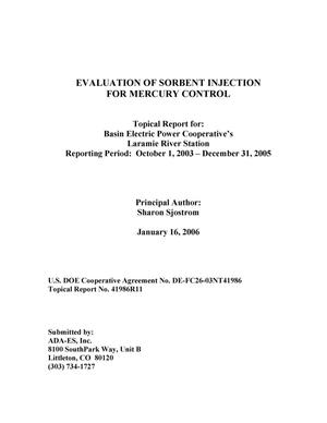 Primary view of object titled 'Evaluation of Sorbent Injection for Mercury Control'.