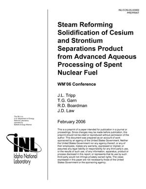 Primary view of object titled 'Steam Reforming Solidification of Cesium and Strontium Separations Product from Advanced Aqueous Processing of Spent Nuclear Fuel'.