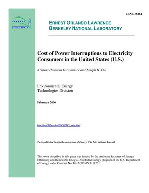 Primary view of object titled 'Cost of Power Interruptions to Electricity Consumers in the United States (U.S.)'.