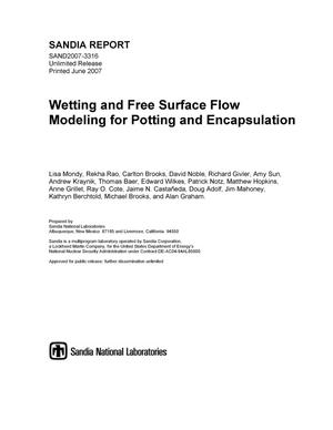 Primary view of object titled 'Wetting and free surface flow modeling for potting and encapsulation.'.