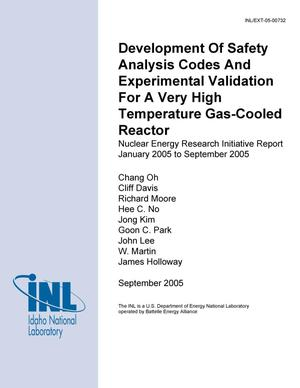Primary view of object titled 'Development of Safety Analysis Codes and Experimental Validation for a Very High Temperature Gas-Cooled Reactor - FY-05 Annual Report'.