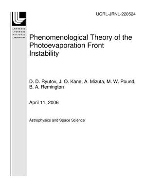 Primary view of object titled 'Phenomenological Theory of the Photoevaporation Front Instability'.