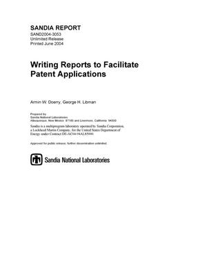 Primary view of object titled 'Writing reports to facilitate patent applications.'.