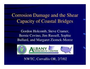 Primary view of object titled 'Corrosion damage and the shear capacity of coastal bridges'.