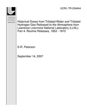 Primary view of object titled 'Historical Doses from Tritiated Water and Tritiated Hydrogen Gas Released to the Atmosphere from Lawrence Livermore National Laboratory (LLNL). Part 4. Routine Releases, 1953 - 1972'.