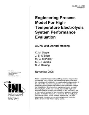Primary view of object titled 'Engineering Process Model for High-Temperature Electrolysis System Performance Evaluation'.