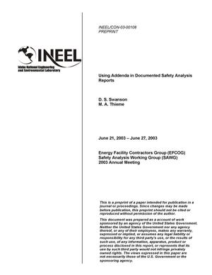 Primary view of object titled 'Using Addenda in Documented Safety Analysis Reports'.