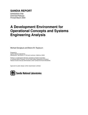 Primary view of object titled 'A development environment for operational concepts and systems engineering analysis.'.