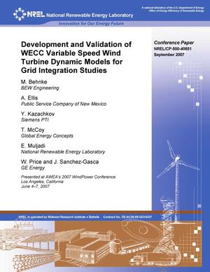 Primary view of object titled 'Development and Validation of WECC Variable Speed Wind Turbine Dynamic Models for Grid Integration Studies'.