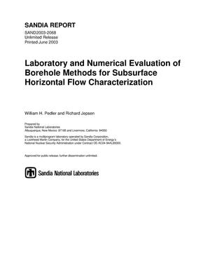 Primary view of object titled 'Laboratory and numerical evaluation of borehole methods for subsurface horizontal flow characterization.'.