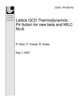 Primary view of object titled 'Lattice QCD Thermodynamcis : P4 Action for new beta and MILC Nt=6'.