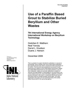 Primary view of object titled 'Use of a Paraffin Based Grout to Stabilize Buried Beryllium and Other Wastes'.