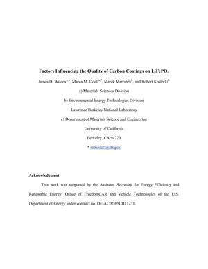 Primary view of object titled 'Factors Influencing the Quality of Carbon Coatings onLiFePO4'.