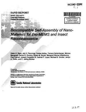 Primary view of object titled 'Biocompatible self-assembly of nano-materials for Bio-MEMS and insect reconnaissance.'.