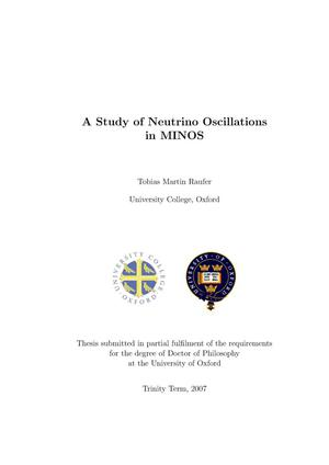 Primary view of object titled 'A study of neutrino oscillations in MINOS'.