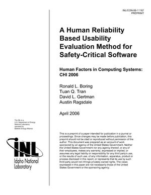 Primary view of object titled 'A Human Reliability Based Usability Evaluation Method for Safety-Critical Software'.
