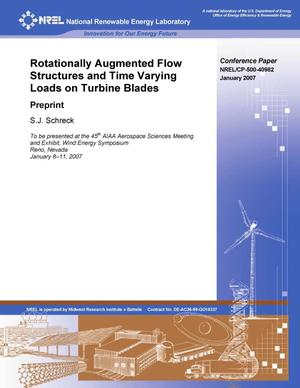 Primary view of object titled 'Rotationally Augmented Flow Structures and Time Varying Loads on Turbine Blades: Preprint'.