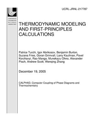 Primary view of object titled 'THERMODYNAMIC MODELING AND FIRST-PRINCIPLES CALCULATIONS'.