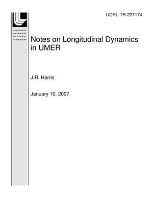 Primary view of object titled 'Notes on Longitudinal Dynamics in UMER'.
